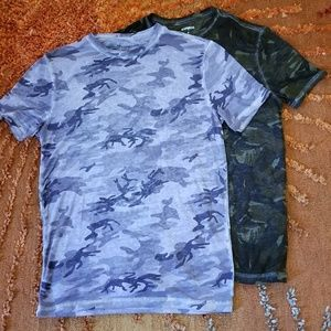 2 Express Gray and Green Camouflage T-shirts